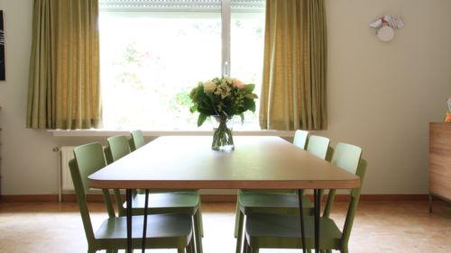 tafel in groen linoleum