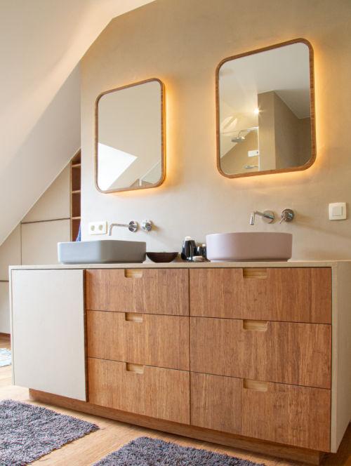 badkamer met bamboe en mortex