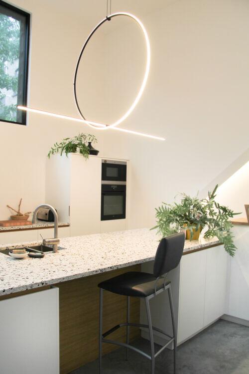 designkeuken met terrazzo werkblad